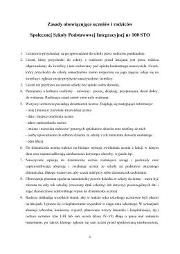 Zasady obowiązujące uczniów i rodziców Społecznej Szkoły