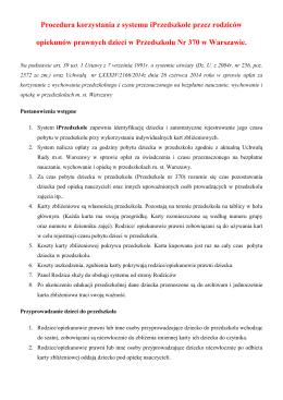 Instrukcja dla rodziców - Przedszkole 370 w Warszawie