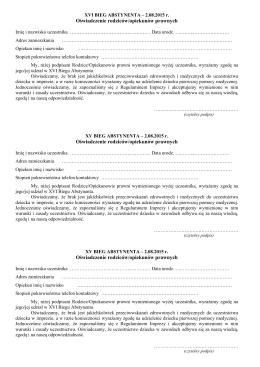 Oświadczenie rodziców/opiekunów prawnych Oświadczenie