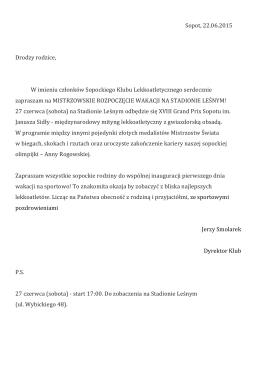 Sopot, 22.06.2015 Drodzy rodzice, W imieniu