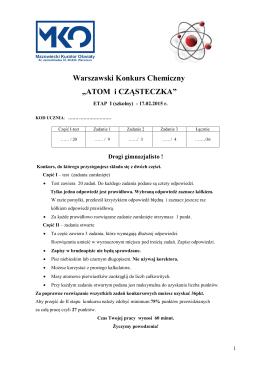 """Warszawski Konkurs Chemiczny """"ATOM i CZĄSTECZKA"""""""