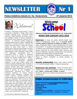 Newsletter 1 - Polska Katolicka Szkoła im. Św. Ferdynanda w Chicago