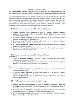 VII Ogólnopolskiego Konkursu Literackiego: To, co ważne. Mój głos