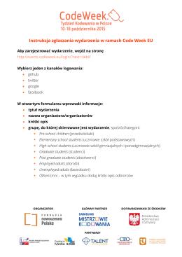 Instrukcja zgłaszania wydarzenia w ramach Code Week EU