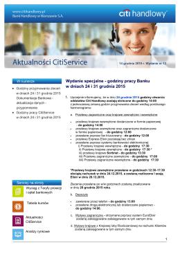 godziny pracy Banku w dniach 24 i 31 grudnia 2015