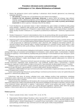 Procedura rekrutacji ucznia cudzoziemskiego w Gimnazjum nr 2 im