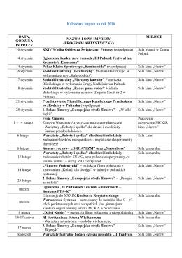 Kalendarz imprez na rok 2016 DATA, GODZINA IMPREZY