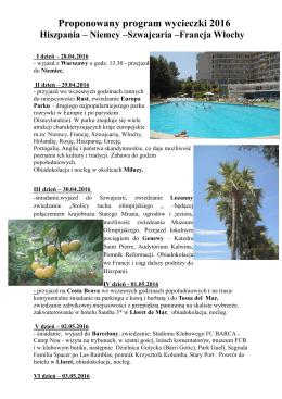 Wycieczka Hiszpania 2016 - XIII Liceum Ogólnokształcące