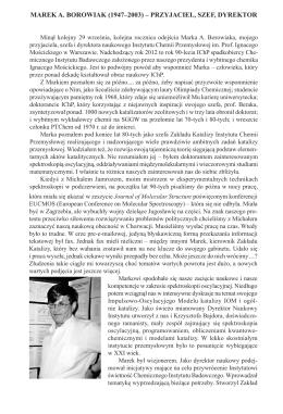 MAREK A. BOROWIAK (1947–2003) – PRZYJACIEL, SZEF