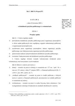ustawy z dnia 24 kwietnia 2003 r. o działalności pożytku