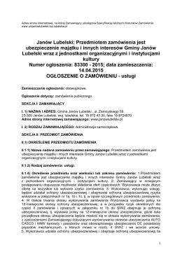 Ogłoszenie o zamówieniu - Urząd Miejski w Janowie Lubelskim