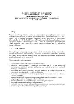 program współpracy gminy leszno z organizacjami pozarządowymi