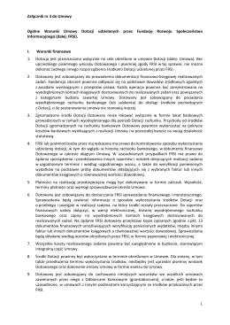 Ogólne warunki do umowy dotacyjnej