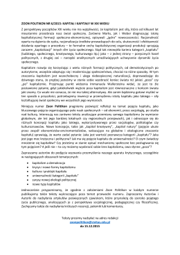ZOON POLITIKON NR 6/2015: KAPITAŁ I KAPITAŁY W XXI WIEKU Z