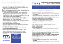 Zalecenia dot. bezpieczeństwa FEPA