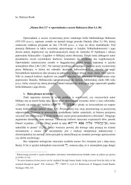 """1 ks. Mariusz Rosik """"Manus Dei (?)"""" w opowiadaniu o uczcie"""