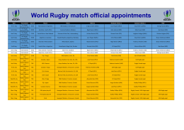 World Rugby match official appointments