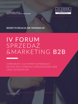 IV FORUM SPRZEDAŻ &MARKETING B2B