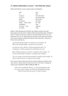 13. Zdania okolicznikowe czasowe - Adverbial time