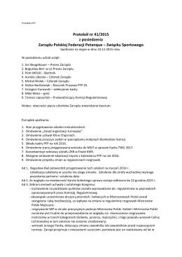 Protokół nr 41/2015 z posiedzenia Zarządu Polskiej Federacji