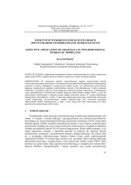 Krzysztof Bakuła Efektywne wykorzystanie danych LIDAR w