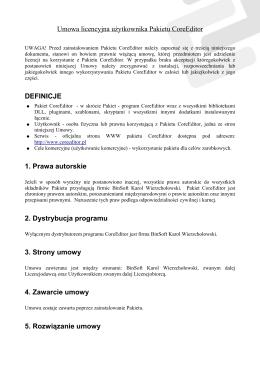 Umowa licencyjna użytkownika Pakietu CoreEditor DEFINICJE 1
