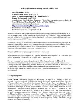 45 Międzynarodowe Warsztaty Jazzowe - Puławy 2015
