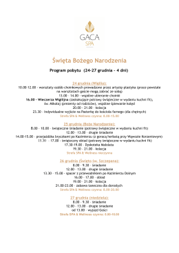 Program pobytu - Hotel GACA SPA