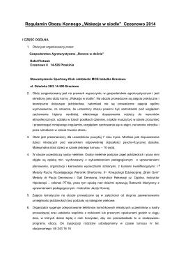"""Regulamin Obozu Konnego """"Wakacje w siodle"""" Czosnowo 2014"""