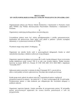 Regulamin Gwiazdka 2015 - Wyższa Szkoła Hotelarstwa i Gastronomii