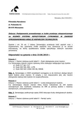 Pytania i odpowiedzi z 23.06.2015 r.