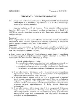 DZP 261 10 2015 odp na pytania i zm do SIWZ