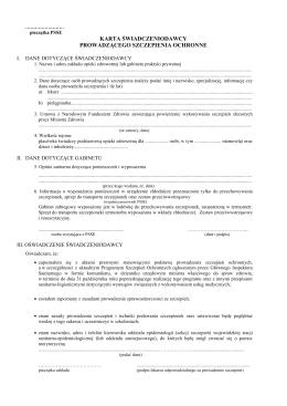 EPN Karta świadczeniodawcy prowadzącego szczepienia ochronne