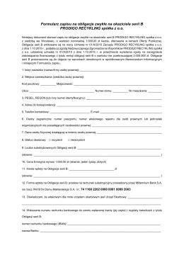 Formularz zapisu na obligacje zwykłe na okaziciela serii