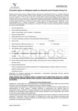 Formularz zapisu na Obligacje zwykłe na okaziciela serii K Kerdos