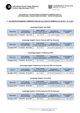 Załącznik do regulaminu Egzaminów Cambridge English 2015