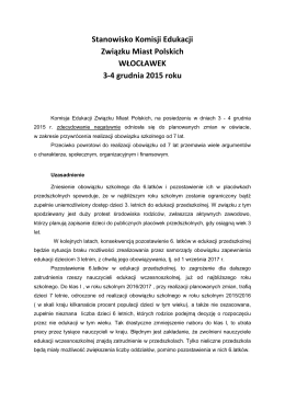 Stanowisko Komisji Edukacji Związku Miast Polskich WŁOCŁAWEK