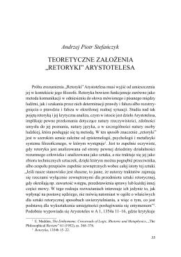 """Teoretyczne założenia """"Retoryki"""" Arystotelesa"""