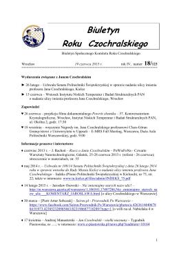 Biuletyn 18/2015 - Jan Czochralski