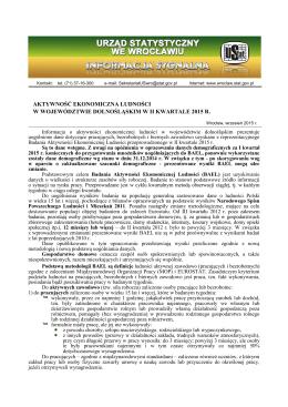 Aktywność ekonomiczna ludności w województwie dolnośląskim w II