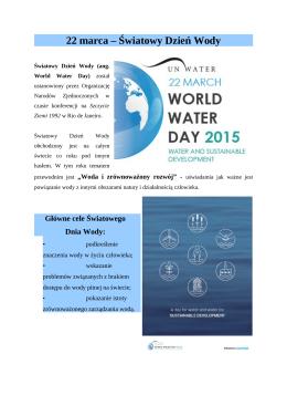 22 marca – Światowy Dzień Wody