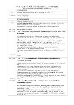 V Konferencja Energia-Woda-Środowisko, 25-27 marca 2015