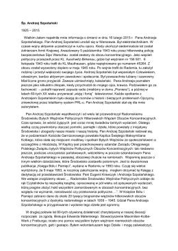 Śp. Andrzej Szpotański 1925 – 2015 Wielkim żalem napełniła mnie