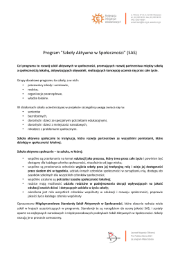 """Program """"Szkoły Aktywne w Społeczności"""" (SAS)"""
