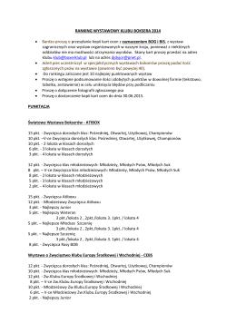 RANKING WYSTAWOWY KLUBU BOKSERA 2014 • Bardzo proszę
