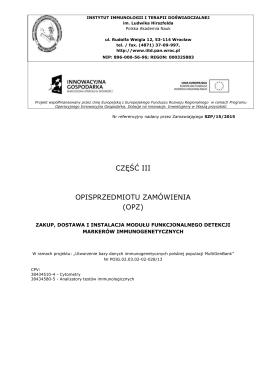 SIWZ - Opisprzedmiotu zamówienia