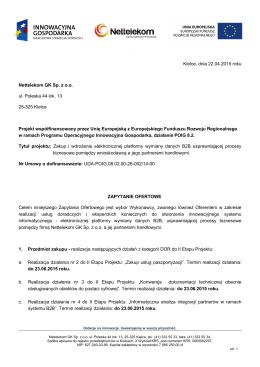 Kielce, dnia 22.04.2015 roku Nettelekom GK Sp. z oo ul. Poleska 44