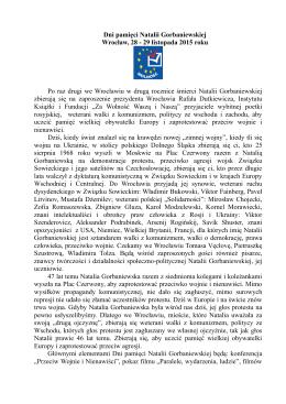 """Informacja prasowa do pobrania - Fundacja """"Za Wolność Waszą i"""