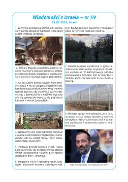 Wiadomości z Izraela – nr 59