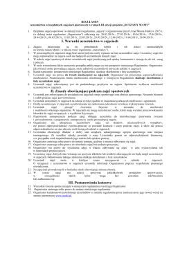 Regulamin uczestnictwa w bezpłatnych zajęciach sportowych w